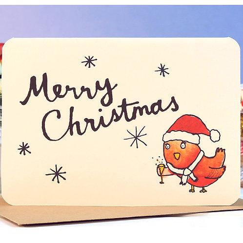 MERRY CHRISTMAS ROBIN CARD  x 6