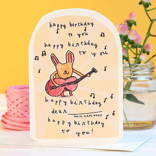 HAPPY BIRTHDAY TO YOU... GUITAR BUNNY CARD x 6