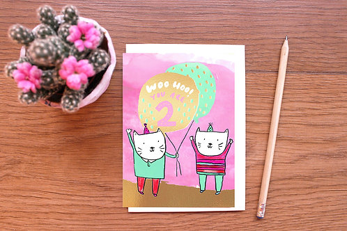 TWO TODAY! GOLD FOILED BIRTHDAY CARD x 6
