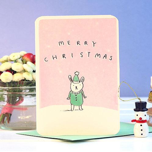 MERRY CHRISTMAS BUNNY ELF CARD  x 6