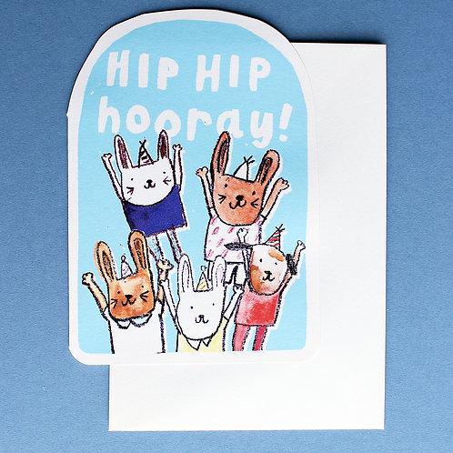 HIP HIP HOORAY BIRTHDAY CARD x6