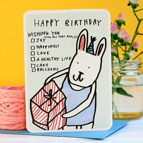 HAPPY BIRTHDAY TICKBOX BUNNY CARD x 6