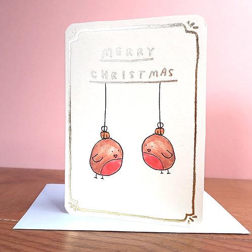 GOLD ROBIN BAUBLES CHRISTMAS CARD