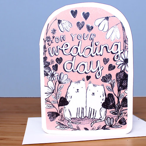 WEDDING CATS PINK CARD