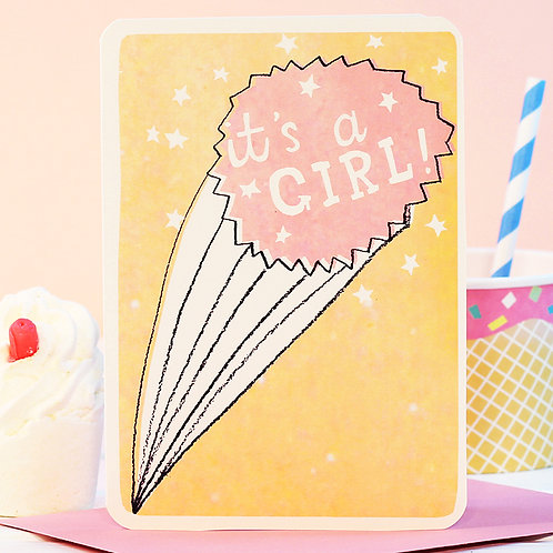 IT'S A GIRL STARBURST CARD x 6