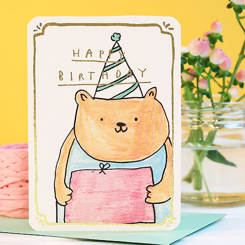 BIRTHDAY BEAR CARD with GOLD FOIL x 6