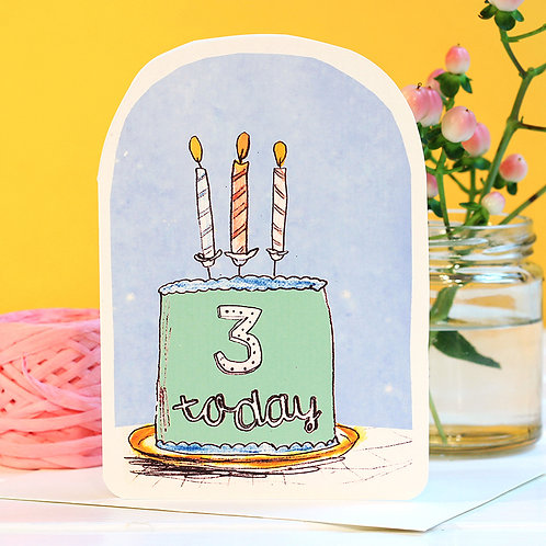 THREE TODAY BIRTHDAY CANDLE CARD x 6