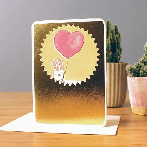 GOLD FOIL BUNNY BALLOON CARD