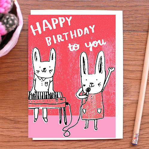 HAPPY BIRTHDAY TO YOU! BUNNY SINGING DUO BIRTHDAY CARD x 6
