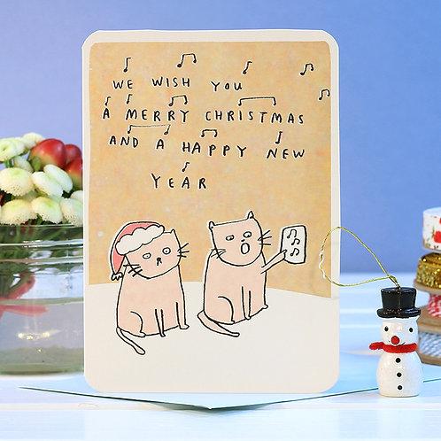 CAROLLING CATS CHRISTMAS CARD  x 6