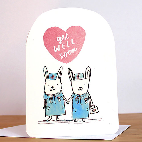 GET WELL SOON BUNNIES CARD