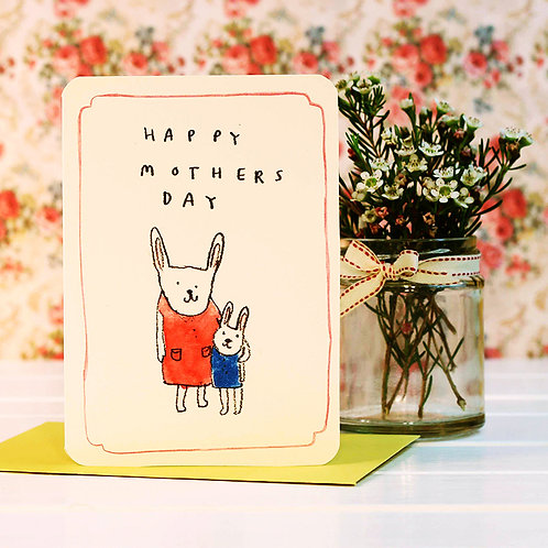 MOTHER'S DAY RABBITS CARDS x 6