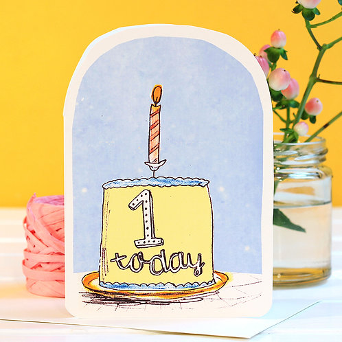 ONE TODAY BIRTHDAY CANDLE CARD x 6