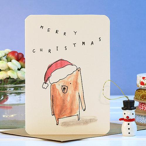 MERRY CHRISTMAS BEAR CARD x 6