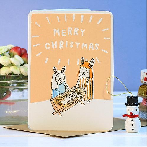 JESUS BUNNIES CHRISTMAS CARD  x 6