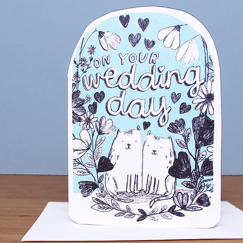 WEDDING CATS BLUE CARD