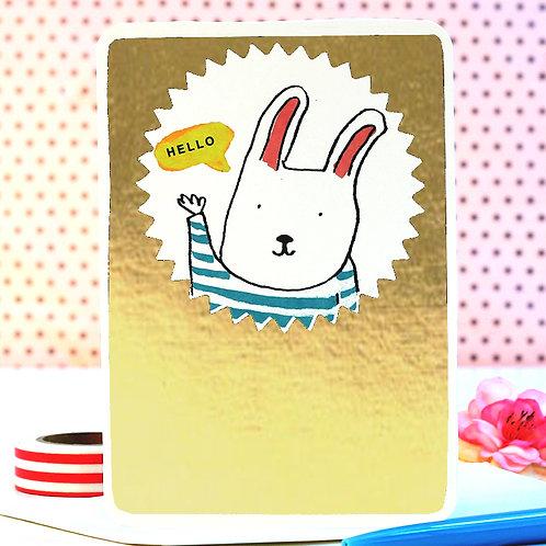 GOLD HELLO BUNNY CARD x 6