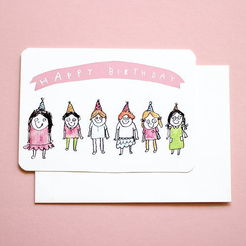 BIRTHDAY PARTY CARD x6