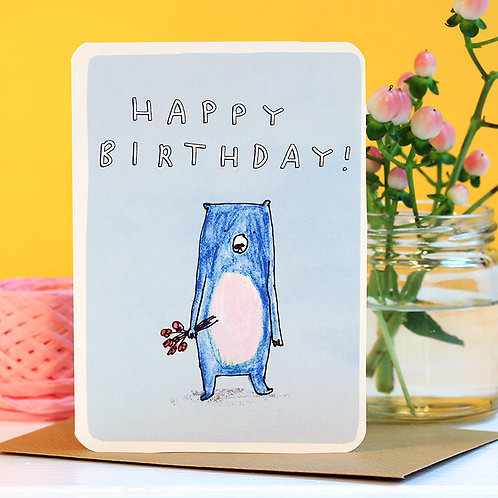 HAPPY BIRTHDAY BEAR WITH FLOWERS CARD x 6