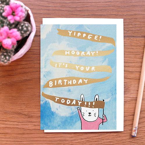 GOLD FOILED BIRTHDAY BUNNY BIRTHDAY CARD x 6