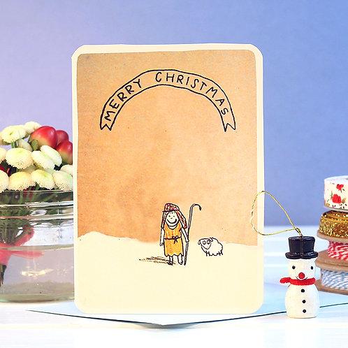 MERRY CHRISTMAS SHEPHERD CARD  x 6