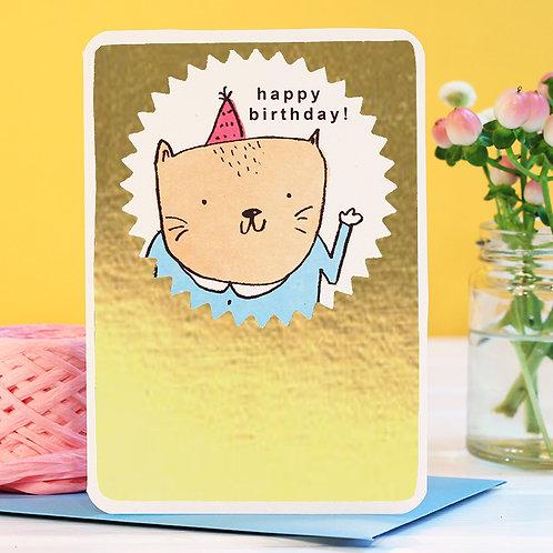 GOLD BIRTHDAY CAT CARD