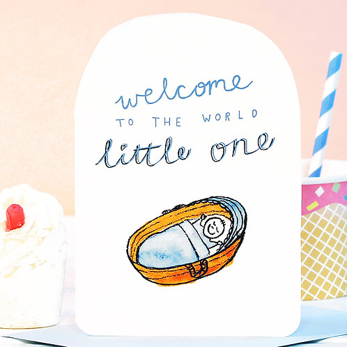 WELCOME LITTLE ONE BLUE CARD