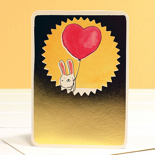 GOLD FOIL BUNNY BALLOON CARD x 6