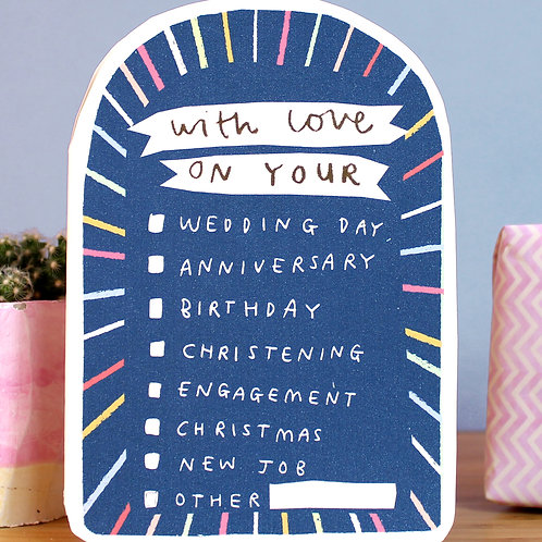 WITH LOVE ON YOUR... TICKBOX CARD x 6