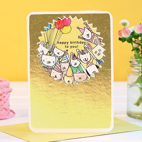 BIRTHDAY PARTY CARD with GOLD FOIL x 6