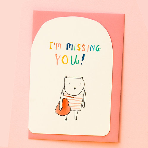 MISSING YOU BEAR CARD x 6