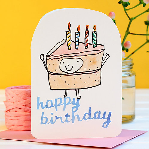 BIRTHDAY CAKE PERSON CARD x 6