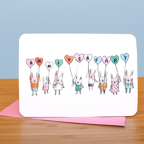 ANNIVERSARY BUNNIES AND BALLOONS CARD