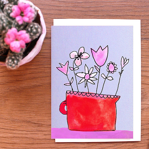 FLOWERS IN A RED JUG CARD  x 6