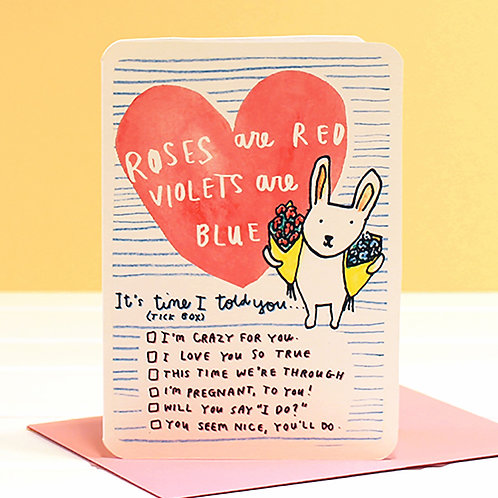 ROSES ARE RED... TICKBOX VALENTINES CARD x 6