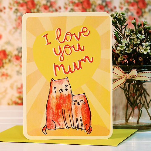LOVE YOU MUM CATS CARDS x 6