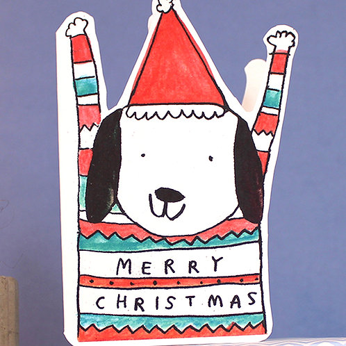 CHRISTMAS JUMPER DIE-CUT DOG CARD