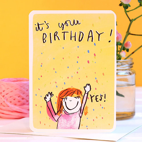 YES! HAPPY BIRTHDAY CARD x 6