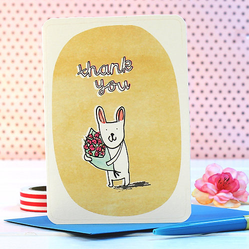 THANK YOU FLOWERS BUNNY CARD x 6
