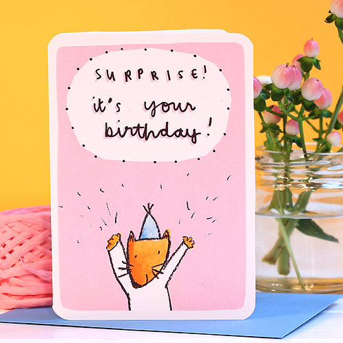 SURPRISE! PINK FOX BIRTHDAY CARD
