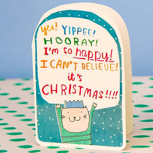 YES! YIPPEE! HOORAY IT'S CHRISTMAS CARD x 6