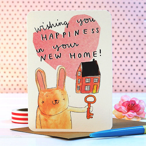 NEW HOME BUNNY CARD x 6