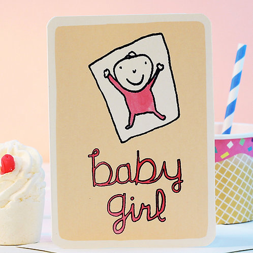 BABY GIRL PINK CARD x 6