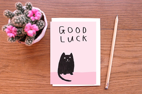 GOOD LUCK BLACK CAT CARD  x 6