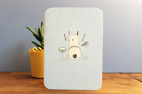 DRUMMING BUNNY CARD x 6