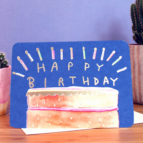 GOLD FOILED BIRTHDAY CAKE CARD x 6