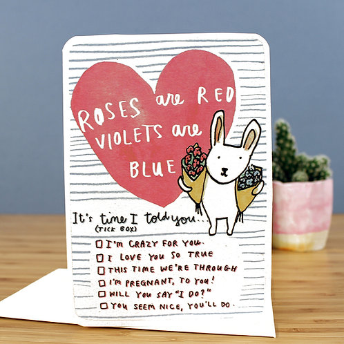 ROSES ARE RED... TICKBOX CARD