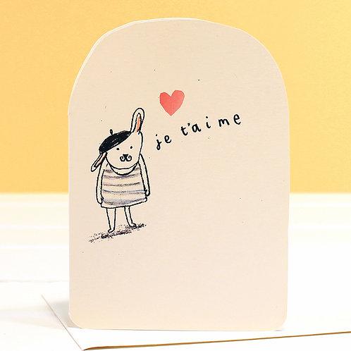 JE T'AIME BUNNY CARD x 6