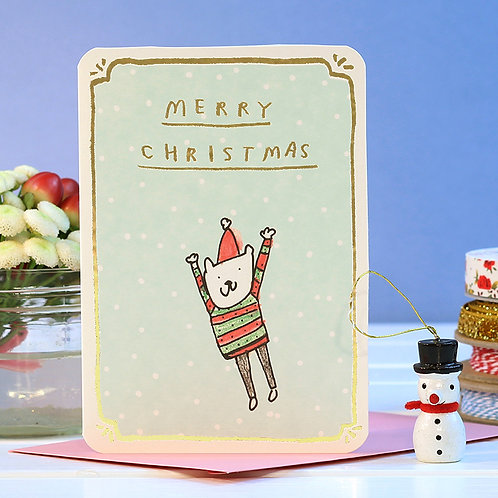 GOLD FOIL JUMPING BEAR CHRISTMAS CARD x 6