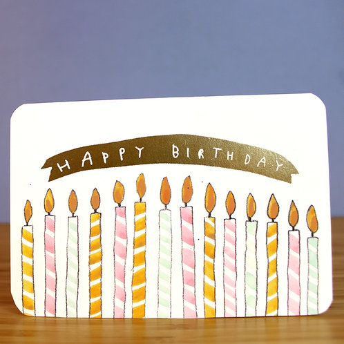 GOLD FOILED BIRTHDAY CANDLES CARD x 6